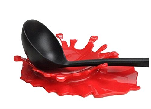 HENGSONG Spoon Rest Holder Silicone Ketchup Shape Holders for Kitchen Accessories, Spoons, Spatula, Brushes, Cutlery (Red)