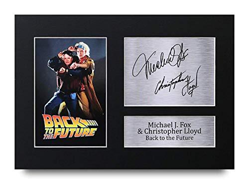 (HWC Trading Back to The Future Geschenke A4 Gedrucktes Autogramm Michael J Fox Christopher Lloyd Marty McFly & Doc Brown Druck-Foto-Bilderanzeige)