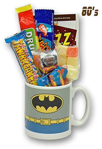 Batman Costume Mug with a Selection of 1980's Retro Sweets