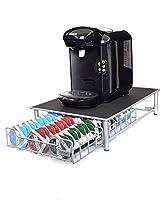 Ever Rich Tassimo Pod Holder | T-Disc Coffee Capsules | Bosch Tassimo Stand & Pod Storage Drawer | Anti-Vibration Design (Silver/Black)