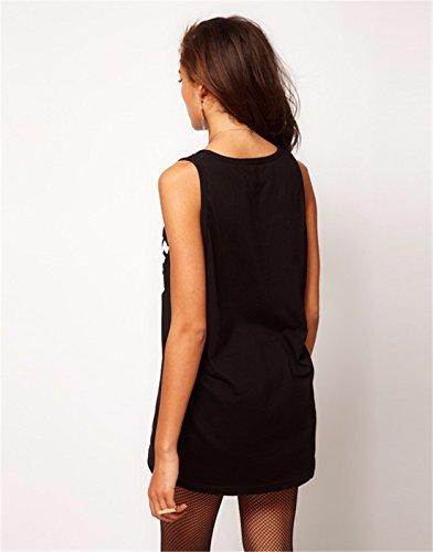 Frauen einfarbig Baumwollsleeveless Brief gedruckt lose Weste Bluse oben XS XXL Black