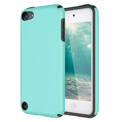 KZONO iPod Touch 5 Fall, iPod Touch 6 Fall, Heavy Duty High Impact Armor Schutzhülle 2 in1 Soft Shell Schutzhülle für Apple iPod Touch 5 6. Generation, 2in1/MintGreen+Grey 3 Layer Soft Shell