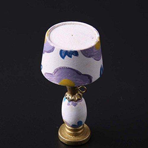 MagiDeal 1/12 Lampada Da Tavolo Ornamento Mobili Casa Delle Bambole In Miniatura Stanza Decorazione - viola, 50mm
