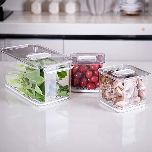 Rutschfeste Lebensmittel-Aufbewahrungsbehälter für Kühlschrank, stapelbarer Kühlschrank-Organizer mit herausnehmbarer Abtropfschale für Produkte, Obst, Gemüse -