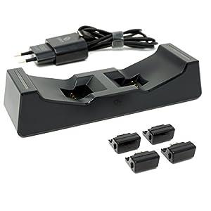 CAPCY PlayStation 4 Ladestation mit Netzteil / Dual Charging Station schnelles Laden für zwei PS4 DualShock 4 Controller mit Dongle / PS4 Pro / PS4 Slim