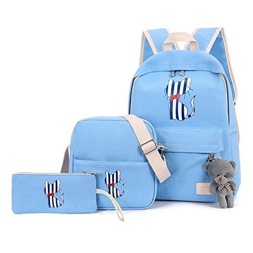 72c04ccf42 Zaino Casual Scuola Set 3Pcs Daypacks / Canvas Backpack Tela Zaini Ragazza  / Donna+ Messenger Bag