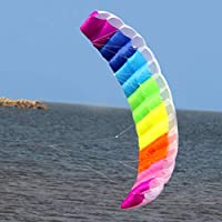 Moliies 2m Rainbow Dual Line Stunt Parachute Soft Parafoil Surfing Kite Cometa Grande