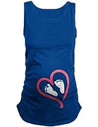 Mengonee Camisetas de Las Mujeres Embarazadas Camiseta Suave del Embarazo del Bebé del Corazón de Maternidad Suave Top Para Esperar a La Madre
