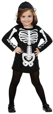 Widmann 2848K - Kinderkostüm Skelett Girl, Kleid mit Kapuze, Gröߟe 110 / 116 (Duo Kostüme Ideen)
