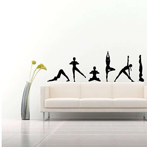 Wandtattoo Yogaübungen Silhouetten Dies Position Yoga Namaste Yoga Studio Fitness Yoga-Studio Wandaufkleber Schlafzimmer Vinyl Aufkleber Wanddeko Fototapete Dekoration für Zuhause Wandsticker Wandbilder (Studio Dekoration)