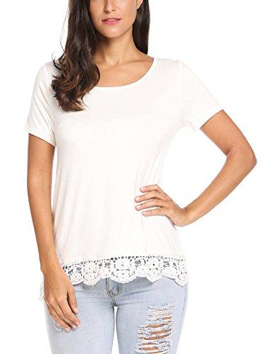 Parabler Damen Sommer T-Shirt Kurzarm Tops mit Floral Spitze Spitzenshirt Bluse Hemd Shirt Tunika