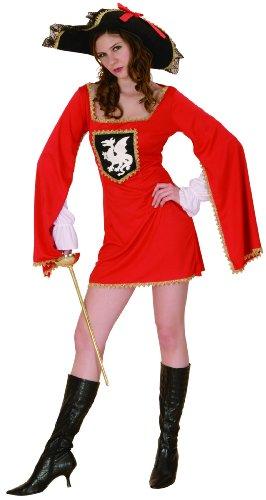 Musketier Kostüm Damen Rot - Generique - Musketier-Kostüm rot für