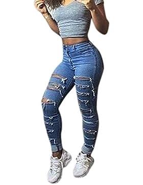 Rcool Mujeres Denim Skinny Ripped Pants Alta Cintura Stretch Jeans Slim Pencil Pantalones