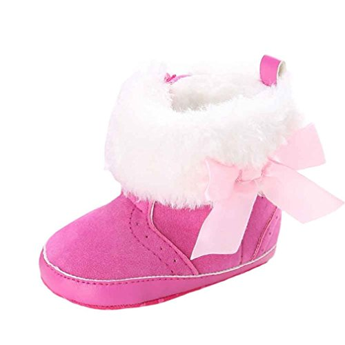 Baby Mädchen Lauflernschuhe-Omiky® Baby Keep Warm Soft Sole Snow Boots Soft Crib Shoes Toddler Boots Hot Pink
