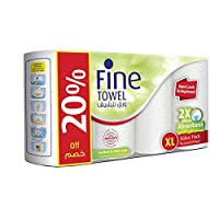 ‏‪Fine 2X More Absorbent Extra Long Absorbent Kitchen Paper Towel Tissue Rolls - Pack of 4 Rolls, 100 Sheets x 2 Ply‬‏