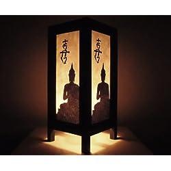 Rare Asia Thai lámpara de mesillas Buda estilo noche Black Buda por Tailandia