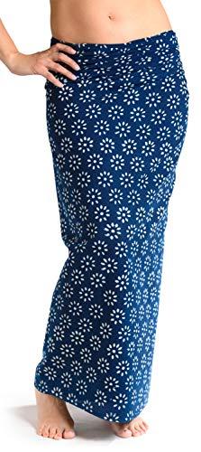 Sarong Rock aus Indien, traditionell handbedruckt, Unisex für Männer und Frauen, Blau 2