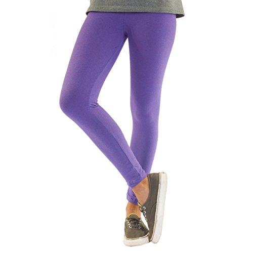 Bunte Mädchen Leggings lang aus Baumwolle Kinder Leggins in verschiedenen Farben und Muster, Farbe: Lila, Größe: 140-146