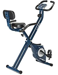 Klarfit Azura [CF/Pro] X-Bike Ergometro Hometrainer Fitness-Bike Cardio-Bike Trainingscomputer resistenza regolabile 8 livelli opzionale: supporto schienale e staffe laterali blu