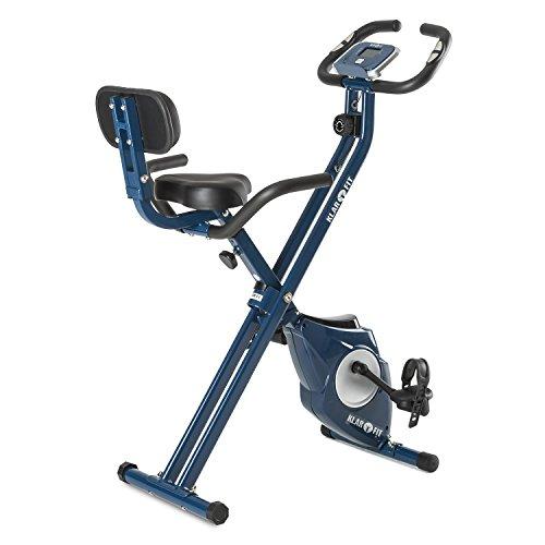 Klarfit Azura [CF/Pro] X-Bike ? Ergometer ? Heimtrainer ? Fitness-Bike ? Cardio-Bike ? Trainingscomputer ? Pulsmesser ? 8-stufig verstellbarer Widerstand ? 3 kg Schwungmasse ? optional: Rückenlehne & Seitenhalterung ? ergonomischer Sattel ? max. 100kg ? blau (Fahrrad Training)