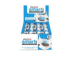 PhD Smart Bar-High Protein Low Sugar Bar, Cookies and Cream, 64 g, Pack of 12