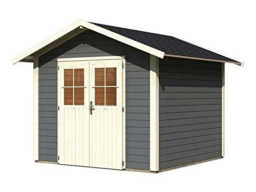 Karibu Gartenhaus Linau 6 terragrau 28 mm inkl. Schindeln schwarz Außenmaß (B x T): 274 x 274 cm...