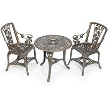 Gablemere - Juego de mesa con 2 sillas, color bronce