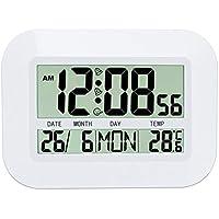 Heaviesk H149 Uso doméstico Gran Pantalla LCD Calendario Digital Sencillo salón Silencio Reloj Colgante Reloj Despertador