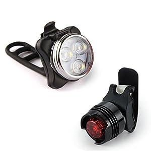 About1988 LED Fahrradbeleuchtung Fahrradlicht, StVZO Zugelassen Super Heller USB geführter Fahrrad-Licht-Wieder aufladbarer Scheinwerfer + Rücklicht + Glocke
