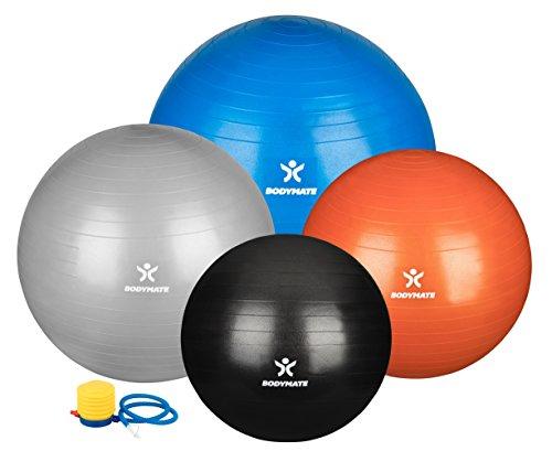 BODYMATE Gymnastikball mit GRATIS E-BOOK - SILBER 65cm - Fitness-Ball für Yoga - Premium Yoga-Ball für Pilates Core-Training inkl. Luft-Pumpe - Belastbar bis 300kg - Gymnastik-Ball für Schwangerschaft in den Größen 55-cm 65-cm 75-cm 85-cm