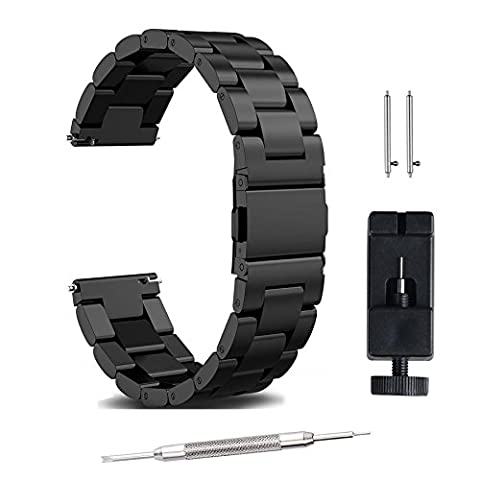 22mm 20mm 18mm watch strap watch band, FashionAids Stainless Steel Band Strap Metal Replacement Band Bracelet Strap + Tools + Pins for Men's Women's Watch, Black