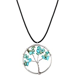Young & Forever D'vine Amulet Tree of Life Healing Crystal Pendant Amethyst Rose Crystal Necklace Gemstone Chakra Jewelry Mothers Day Gift (Turquoise) diwali Gift special
