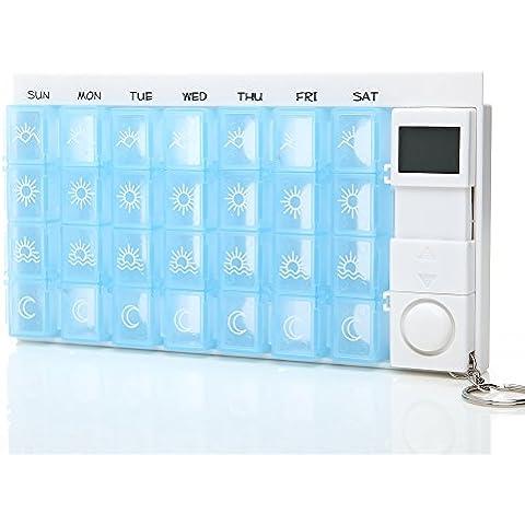 KingOfHearts™ Grande capacità pillola settimanale cofanetto con allarme, pacchetto comprende 7 x 4 dell'organizzatore della (Nero Piano Telaio)