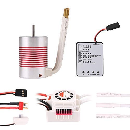 Crazepony-UK 3650 4300KV 4 Pole 3.175mm Brushless Motor with Waterproof 60A ESC Combo Set and Programming Card for 1/10 RC Car Truck