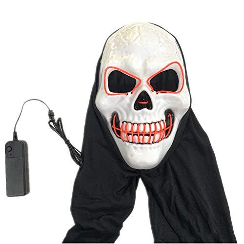 XIAO RUI LED leuchten Maske Halloween kaltes Licht Kopfbedeckung Kostüm Schädel volles Gesicht für Cosplay Horror Prop Gesichtsmaske (fluoreszierend-grün) , Größe: 27 * 17cm,Red