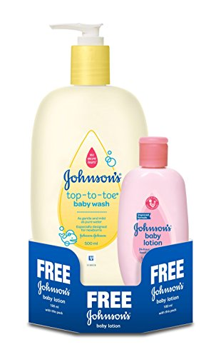 Johnson's Top to Toe Baby Wash (500ml) with Free Baby Lotion (100ml)