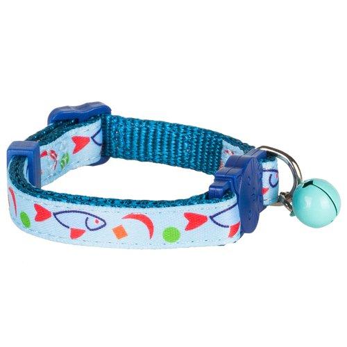 Blueberry Pet en Nylon réglable Breakaway Collier pour Chat en Aigue-Marine Poisson Imprimé avec Turquoise Cloches et en Toile