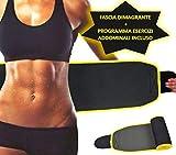 DoubleMfit Cintura Sauna Dimagrante + Programma Addominali SCOLPITI Fascia Professionale Addominale in Neoprene, Brucia Grasso e Fa sudare, Snellente e Rassodante Uomo/Donna