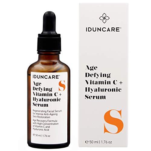 Iduncare Vitamin C & Hyaluron Serum - Gesichtsserum für intensive Anti Aging Hautpflege - Hochdosiertes 20% Vitamin C, Hyaluronsäure & Collagen - 50 ml