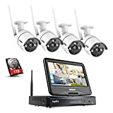 Sannce 4CH Wireless Système de Sécurité 1080P NVR avec HDD 1TB sans Fil et LED Ecran Moniteur 10,1 Intégré +4 IP Caméra WiFi de Surveillance,Résolution Accès à Distance