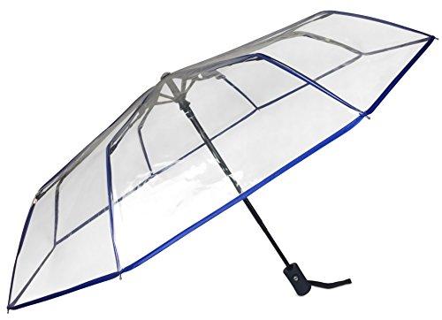 cocofy Regenschirm Transparent, Automatik, Faltbar und somit klein in der Tasche – Taschenschirm für Damen und Herren - Durch Eleganz auch zu besonderen Anlässen und Hochzeit - Rand blau