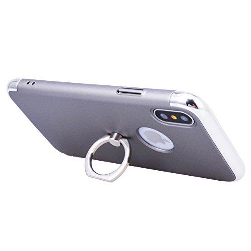 Yokata iPhone X Hülle Hardcase Ultra Dünn Slim Handyhülle Schutz Handytasche Backcover Rotierendem Ring Schutzhülle mit Fingerhalterung Ständer Plating Bumper Anti-Kratzer Stoßfest Hart PC Handy Tasch Grau