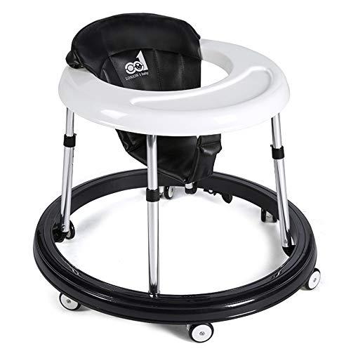 mit sechs Silent Wheels - Double Brake Safety Slip - Höhenverstellbar - Geeignet for 6 bis 18 Monate Baby - Schwarz ()