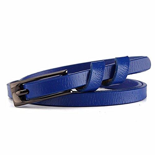 Ledergürtel Damen einfache Dornschließe Gürtel dekorativen Rock mit feinen Ledergürtel weiblichen engen Sommer Blau -
