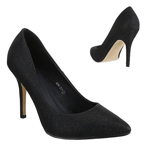 Ital-Design - Scarpe con Tacco Donna , Nero (nero), 37 EU