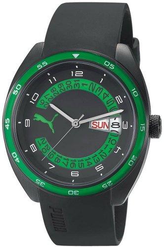 Puma - PU102521004 - Course- L - Montre Homme - Quartz Analogique - Cadran Multicolore - Bracelet Caoutchouc Noir