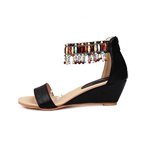 VogueZone009 Donna Chiodato Cerniera Punta Aperta Tacco Medio Heeled-Sandals Nero