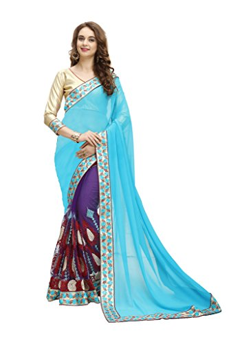 MARUTI saree for women georgette net multi art embroidery designer saree sari (half and half saree with unstitched golden blouse)Sarees (Women\'s Clothing Saree For Women Latest Design Wear New Collec