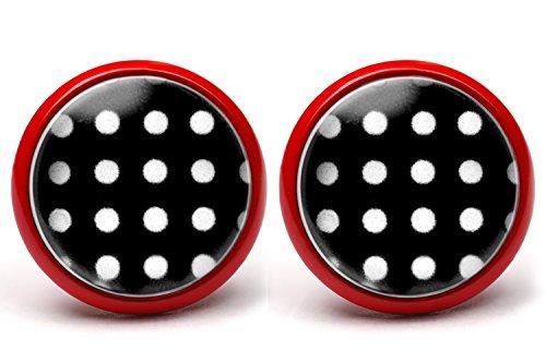 LA FABA Polka Dots Ohrstecker Polka Punkte weiss auf schwarz in vielen Farben, Ohrringe gepunktet, Ø 14 mm Durchmesser, Rockabilly Accessoire Ohrstecker in Schmuckschachtel Etui (PP WaufS - rot)