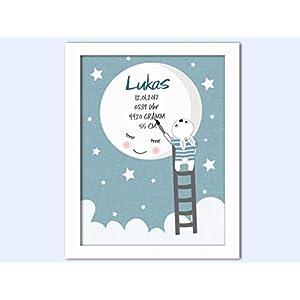 Baby Geschenk zur Geburt Taufe Kunstdruck Poster – hellblau – DIN A4 – ungerahmt – Bild mit Name personalisiert Baby…